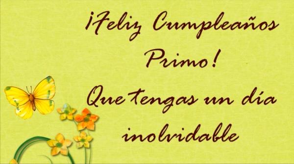 ¡Feliz Cumpleaños Primo! Que tengas un día inolvidable