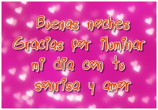 Tarjeta con frase Buenas noches Gracias por iluminar mi día con tu sonrisa y amor