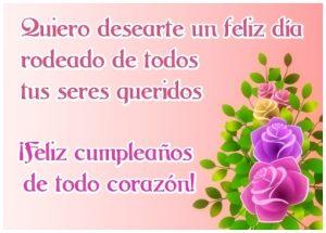 Feliz cumpleaños de todo corazón tarjeta para facebook