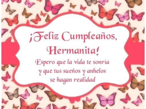 Feliz Cumpleaños Hermana Imagen con frese Para Compartir en Facebook