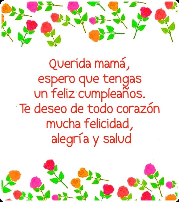 Feliz cumpleaños mamá! Imagen con frase de cumpleaños para Madre