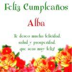 ¡Feliz Cumpleaños, Alba!   Imágenes para descargar y enviar gratis