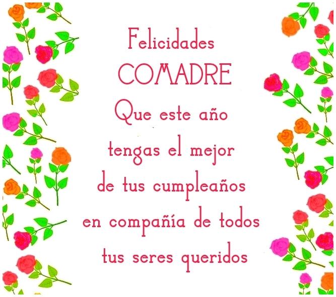 Feliz Cumpleaños Comadre Imagen con Frase Para Compartir en Facebook o enviar desde móvil