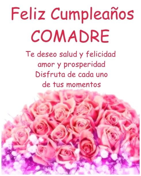 Feliz Cumpleaños Comadre Imagen con rosas Para Enviar desde móvil o Compartir en Facebook
