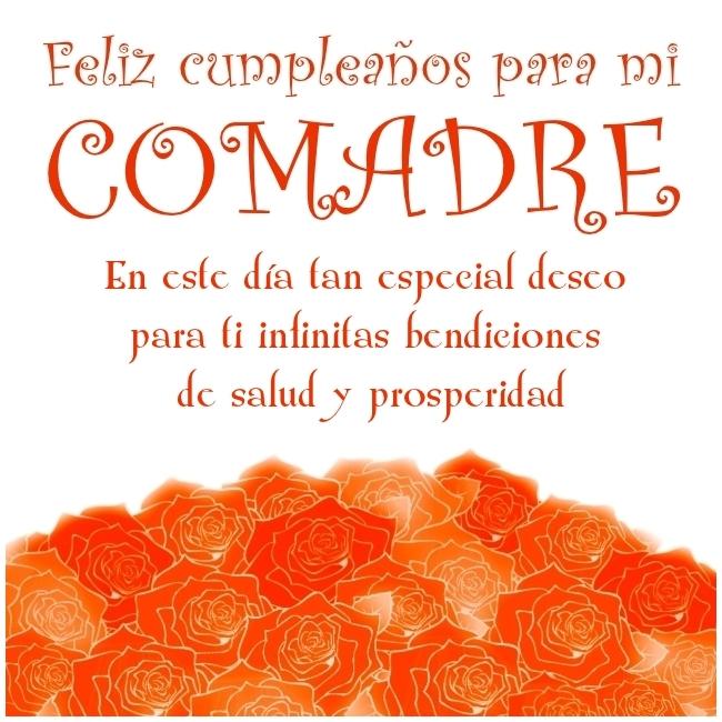 Feliz Cumpleaños Comadre Imagen con rosas y palabras bonitas Para Enviar desde móvil o Compartir en Facebook