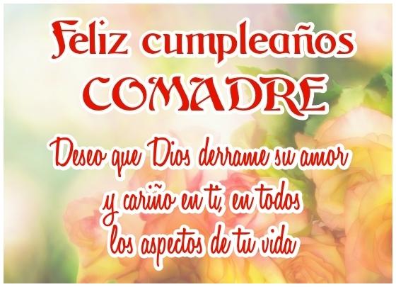 Feliz Cumpleaños Comadre Linda Imagen Con Frese Crictiona Para Compartir en Facebook o enviar desde móvil