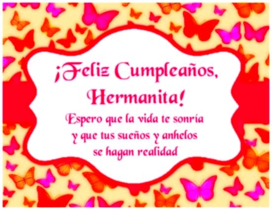 Feliz Cumpleaños Hermana Imagen Con Frase Para Felicitar A