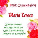 ¡Feliz Cumpleaños, María Teresa!   Imágenes con frases de cumpleaños